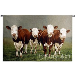 image for Fab Four Hereford Cattle LARGE Wall Tapestry & Rod 53 x 78