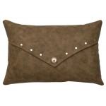 image for Southwest Silver Stud & Concho Faux Leather Throw Pillow 12 x 18