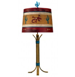 image for Flat Iron Table Lamp & Southwest Painted Shade 32""