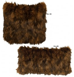 image for Grizzly Bear Faux Fur Throw Pillow Set of 2