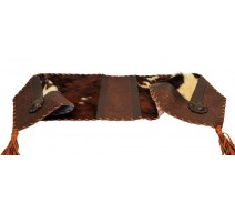 image for Tooled Leather & Cowhide Leather with Concho Table Runner 14 x 72