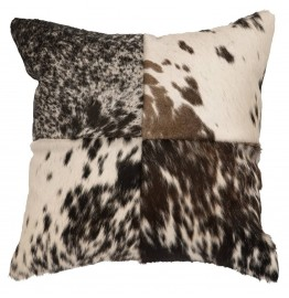 image for Quartered Speckled Cowhide Leather Throw Pillow 16 x 16