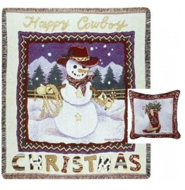 image for Cowboy Snowman Western Throw Blanket & Pillow Set