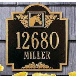 image for Horse Head Medallion Personalized Ranch Plaque 2 Lines