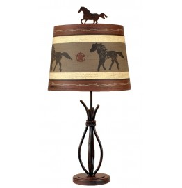 image for Western Horse Shade & Iron Stack Lamp 24""