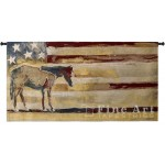 image for Horse Red White Blue Wall Tapestry & Rod 53 x 27