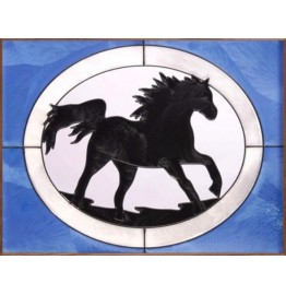 image for Galloping Horse Silhouette Framed Art Glass Panel 11 x 14