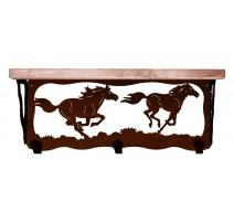 image for Horses Running Wild 20 inch Rustic Wall Shelf (hooks avail)