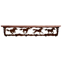 image for Horses Running Wild 42 inch Rustic Wall Shelf (hooks avail)