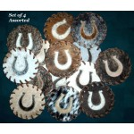 image for Horseshoe Appliqued Cowhide Leather Coaster Set of 4