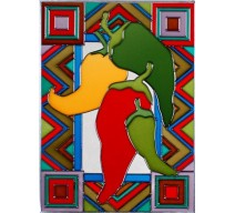 image for Southwest Chili Peppers Art Glass Panel 10.25 x 14