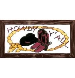 image for Howdy Y\'all Western Art Glass Welcome Sign 9 x 20