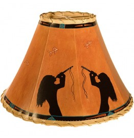 image for Indian Flute Players Hand Painted Leather Lampshades