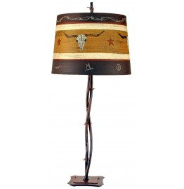image for Longhorn Western Shade & Barbwire Table Lamp 32""