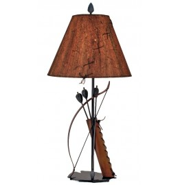 image for Bow Arrows Quiver Metal Table Lamp & Leather Laced Shade 31.5
