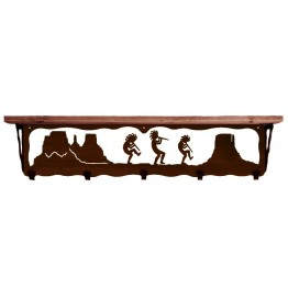 image for Kokopelli Desert Southwest 34 inch Wall Shelf (hooks avail)