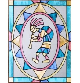 image for Kokopelli Flute Player Framed Art Glass Panel 11 x 14