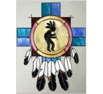 image for Kokopelli Dream Catcher Framed Art Glass Panel 11 x 14