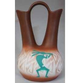 image for Kokopelli Parade Navajo Wedding Vase 7.5x12