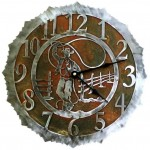 image for Lariat Roping Cowboy Steel Western Wall Clock 12 inch