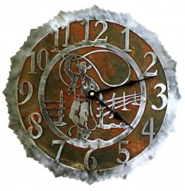 image for Lariat Roping Cowboy Steel Western Wall Clock 18 inch