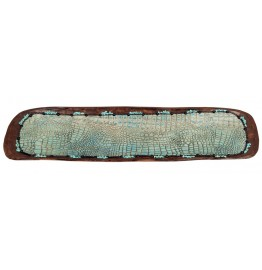image for Croc Embossed Leather & Turquoise Accent Wood Bowl 36""