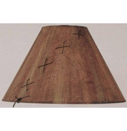 image for Leather Laced Wood Chip Parchment LampShade 7x20x12