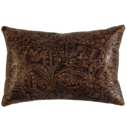 image for Cosmo Western Embossed Leather Throw Pillow 12 x 18
