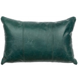 image for Peacock Blue Turquoise Leather Throw Pillow 12 x 18