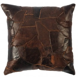 image for Patchwork Leather Throw Pillow 16 x 16