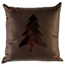 image for Pine Tree Motif Leather Throw Pillow 18 x 18