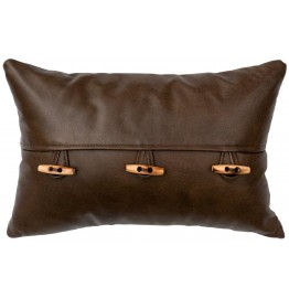 image for Toggle Accent Western Leather Throw Pillow 12 x 18