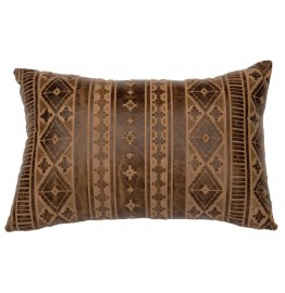 image for Nava Hazelnut Embossed Leather Throw Pillow 12 x 18