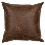 image for Weathered Embossed Leather Throw Pillow 16 x 16