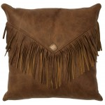 image for Fringed Whiskey Leather Throw Pillow 16 x 16