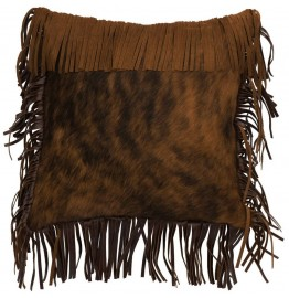 image for Fringed Brindle Cowhide Leather Throw Pillow 16 x 16