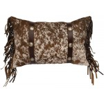 image for Speckled Cowhide Leather & Concho Accent Pillow 12 x 18