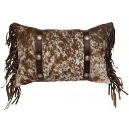 Speckled Cowhide Leather & Concho Accent Pillow 12 x 18