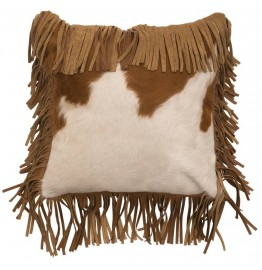 image for Fringed Brown & White Cowhide Leather Throw Pillow 16 x 16