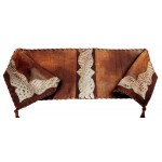 image for Distressed Brown & Embossed Leather Table Runner 12 x 54