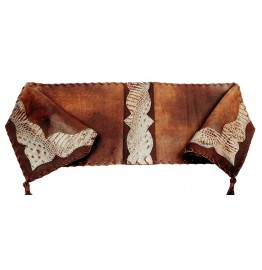 image for Distressed Brown & Embossed Leather Table Runner 12 x 72