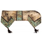 image for Brindle & Turquoise Swirl Leather Table Runner 12 x 54
