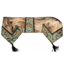 image for Brindle & Turquoise Swirl Leather Table Runner 14 x 72