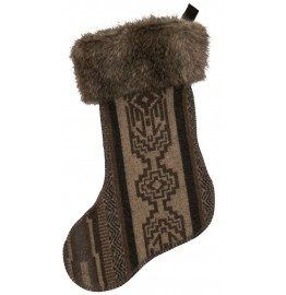 image for Lodge Lux Wool Blend & Faux Grey Fox Fur Christmas Stocking