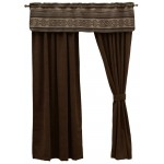 image for Lodge Lux Valance & Espresso Corduroy Drapery Set 84 Long