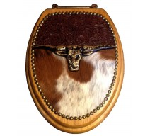 image for Longhorn Icon Cowhide Leather Western Toilet Seat