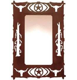 image for Longhorn Lone Star Western Wall Mirror 30 x 20