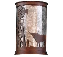 image for Longhorn & WindMill Westerm Half Round Wall Sconce Large