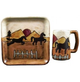 image for Mara Stoneware Equestrian Horse Plate & Stein 2-pc Set