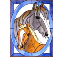 image for Mare & Foal Horses Framed Art Glass Panel 11 x 14